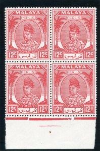 Malaya - Perlis 1952 KGVI 12c scarlet block superb MNH. SG 16. Sc 24.