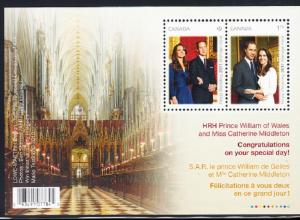 CANADA # 2465c Mint NH Souvenir Sheet - Prince William - Kate Middleton