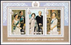 Niue 1986 MH Sc #513 Souvenir sheet of 3 QEII 60th Birthday