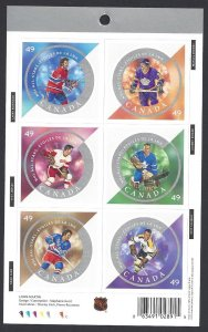 Canada #2018 MNH pane of 6, NHL all stars, issued 2004