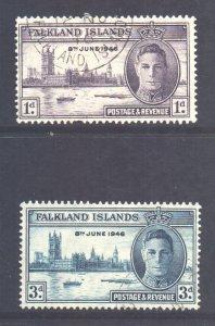 Falkland Is Scott 97/98 - SG164/165, 1946 Victory Set used