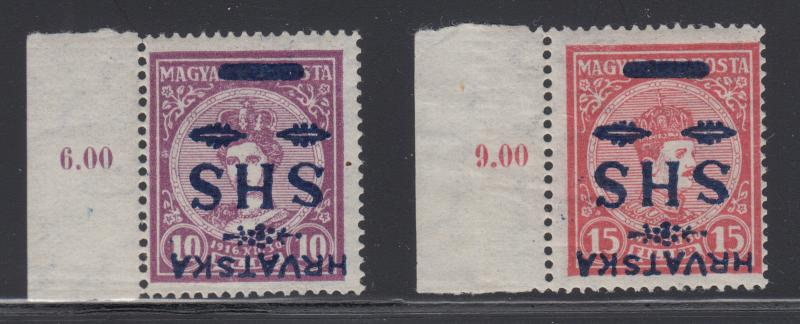Yugoslavia Sc 2L3-2L4 MNH. 1918 Inverted Blue Ovpts on 1916 Hungary Stamps, Cert