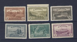 6x Canada Mint Peace Stamps;  #268 to 273 #271-MNG #273-MNG. GV = $55.00.