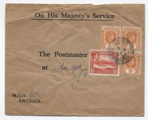 1944 Antigua and Leeward Islands mixed franking cover to USA [L.14]