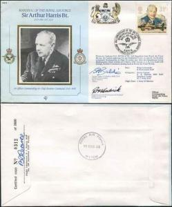 CMD9a RAF COMMANDERS Sir Arthur Harris signed Gp Capt Baldwin and McKendrick