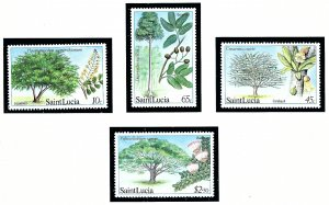 St Lucia 649-52 MNH 1984 Trees and Blossoms (KA)