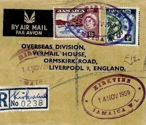 Jamaica *KIRKVINE* TRD Registered Air Mail Cover {samwells-covers}1959 CS15