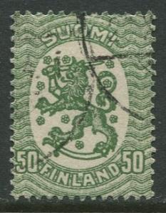 Finland - Scott 98 - Arms of Republic -1917- Used - Single 50p Stamp