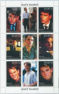 1942 - TURKMENISTAN, 1999 MINIATURE SHEET: Matt Damon, Cinema, Hollywood