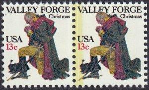 U.S. #1729 Pair Color Error, Heavy Yellow Line Down Center Perfs.Yorktown.