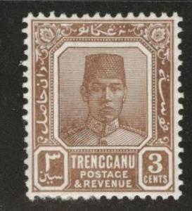 Malaya Trengganu Scott 23 MH* 3c light brown 1938 CV $32.50
