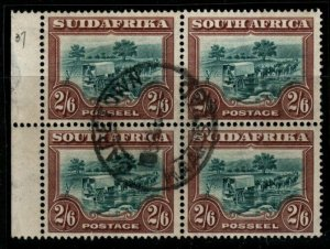 SOUTH AFRICA SG37 1927 2/6 GREEN & BROWN USED BLOCK OF 4(2 PAIRS)