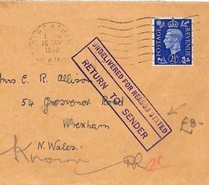 BG268 GB WALES 1940 WW2 RETOUR Cover *Wrexham* Superb RETURN TO SENDER