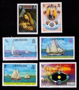 GRENADA ISLANDS,Sc 499-501 1973 MLH SET OF (6 ea) SIX With (Others) VERY FINE