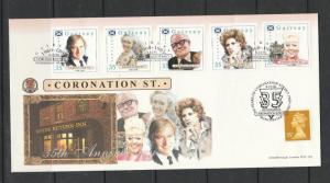 GB Local FDC, Gairsay island 1995 35th Anniv Coronation street set plus special