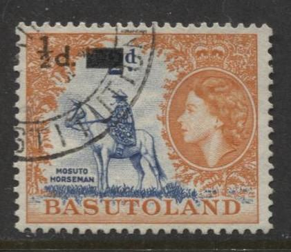 Basutoland - Scott 57 - Surcharge Issue -1959- Used - Single 1/2d on a 2d Stamp