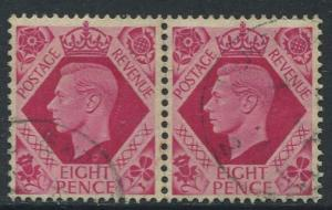 Great Britain - Scott 245 -KGVI Definitive -1937 -FU -Horiz.Pair of 8p Stamp