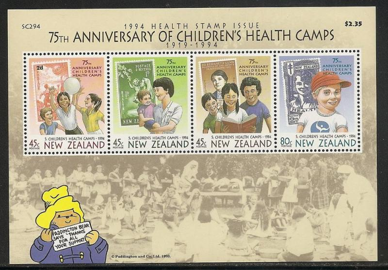 New Zealand B148a 1994 Health m/s MNH