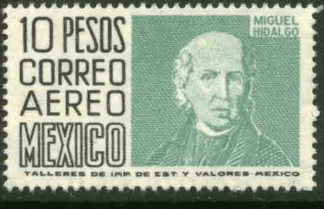 MEXICO C267 $10P 1950 Def 6th Issue Fosforescent unglazed NH