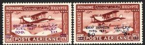 1931 Egypt surcharge airmail Graf Zeppelin set MLMH Sc# C3 C4 CV $180.00