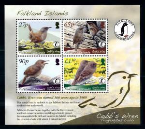 [72088] Falkland Islands 2009 Birds Cobb's Wren WWF Souvenir Sheet MNH