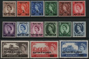 QATAR-1957-59 Low & High Value Definitive Sets Sg 1-15 MOUNTED MINT V40490