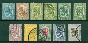 Finland 1921 Lion defnitives 10p to 3m 2nd issue (11v) VFU Stamps