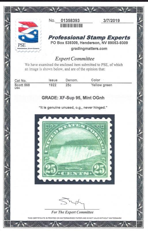 568 Mint,OG,NH... PSE Graded XF-Superb 95... SMQ $210.00