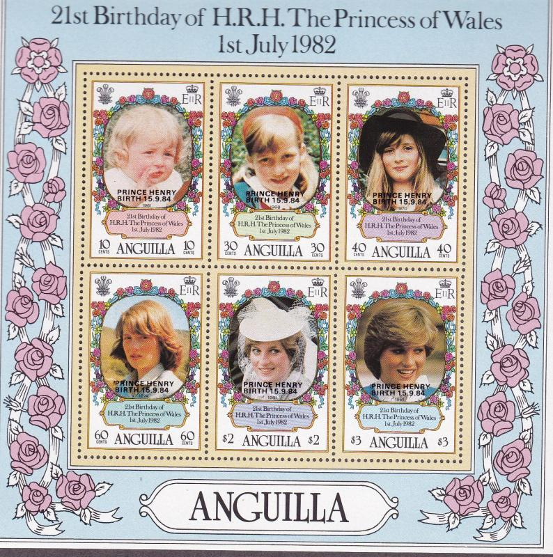 Anguilla 1985 Princess Diana  Souvenir Sheet Birth of Prince Henry Overprint