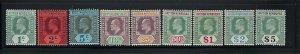 BRITISH HONDURAS SCOTT #62-71 1904-06 EDWARD VII WMK 3 - MINT LIGHT HINGED