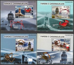 {048} Sao Tome & Principe 2009 Lighthouses Crustaceans Crab 4 S/S Deluxe MNH**