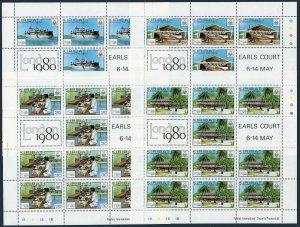 Kiribati 352-355 sheets,MNH.Michel 349-352. LONDON-1980:Post Office,Ship,Plane.