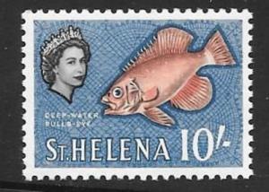 ST.HELENA SG188 1961 10/- ORANGE RED BLACK AND BLUE MNH