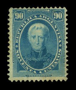 ARGENTINA 1873  Cornelio Saavedra 90c blue  Scott # 26 mint MH