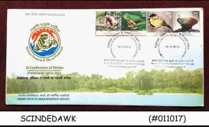 INDIA - 2012 ENDEMIC SPECIES OF INDIAN BIODIVERSITY HOTSPOTS / BIRDS - 4V FDC