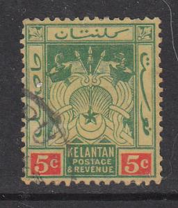 Malaya Kelantan 1921 Sc20 5c Used