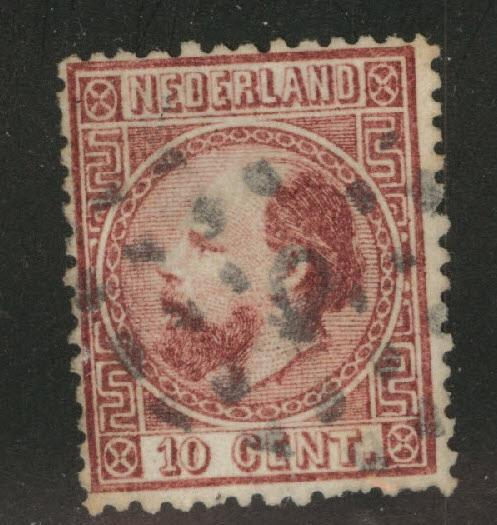 Netherlands Scott 8b used 1867 stamp perf 13.5 x 13.5