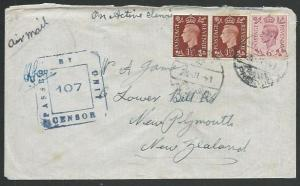 NEW ZEALAND FORCES IN EGYPT 1940 censor cover to NZ, GB Franking...........64637