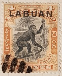 LABUAN (North Borneo) 1899,  4 cent, orange-brown/black.