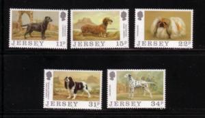 Jersey Sc 447-51 1988 Dog Club 100 yrs stamps NH