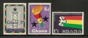 Ghana 1962 Scott# 121-123 MNH