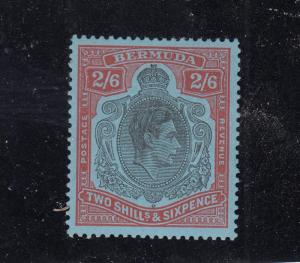 BERMUDA (MLK22) # 124 VF-MH 2sh6p KING GEORGE VI /RED & BLACK / CAT VALUE $15