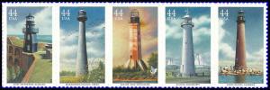 PCBstamps  US #4409/4413a Strip $2.20(5x44c)Lighthouses, MNH, (3)