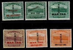 DOMINICA SG55/60s 1916-20 WAR TAX SPECIMEN SET MTD MINT
