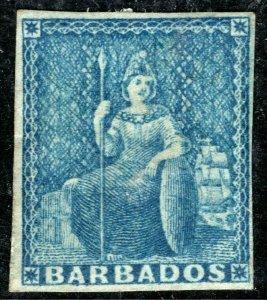 BARBADOS QV Classic Stamp SG.3 (1d) Blue BRITANNIA Mint MM Cat £60 BLBLUE76