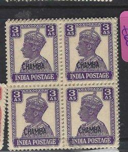 INDIA CHAMBA (P1808B)  KGVI  3A     SG 114A  BL OF 4        MNH