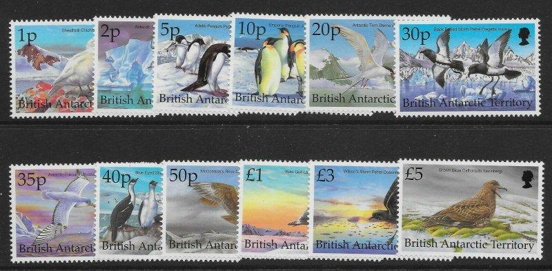 BRITISH ANTARCTIC TERR. SG290/301 1998 BIRDS DEFINITIVE SET MNH