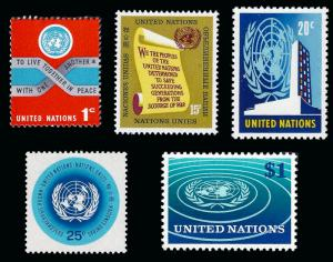 United Nations NY 1965 Sc 146-50 MLH below face