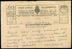 Scotland 1931 Post Office Telegraphs Form Fraserburgh Used