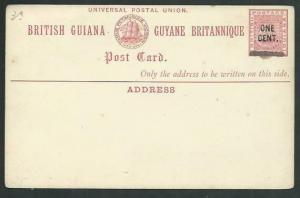 BR GUIANA QV ONE CENT on 3c ship type postcard fine unused.................61476